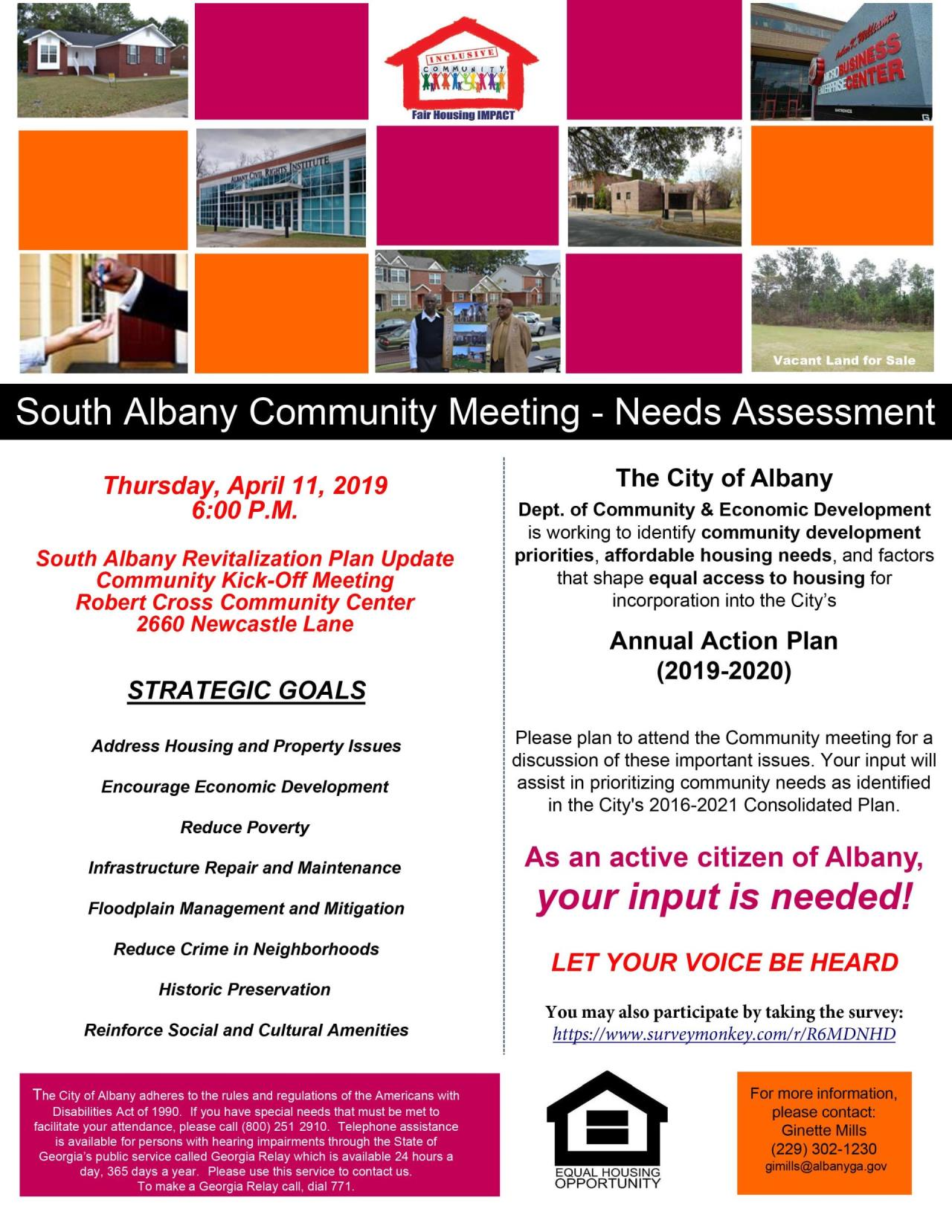 Flyer for South Albany Revitalization Plan Update - Community Kick-Off Meeting (April 11, 2019)